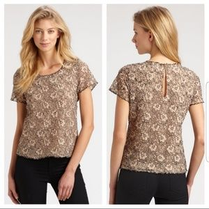 Joie Marcelline tan and black lace top sz xs